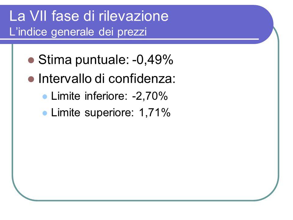 La VII fase di rilevazione Lindice generale dei prezzi Stima puntuale: -0,49% Intervallo di confidenza: Limite inferiore: -2,70% Limite superiore: 1,71%
