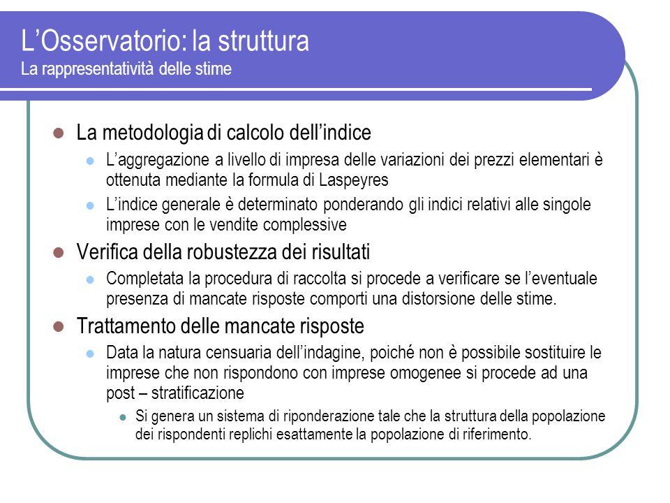 LOsservatorio: la struttura La rappresentatività delle stime La metodologia di calcolo dellindice Laggregazione a livello di impresa delle variazioni