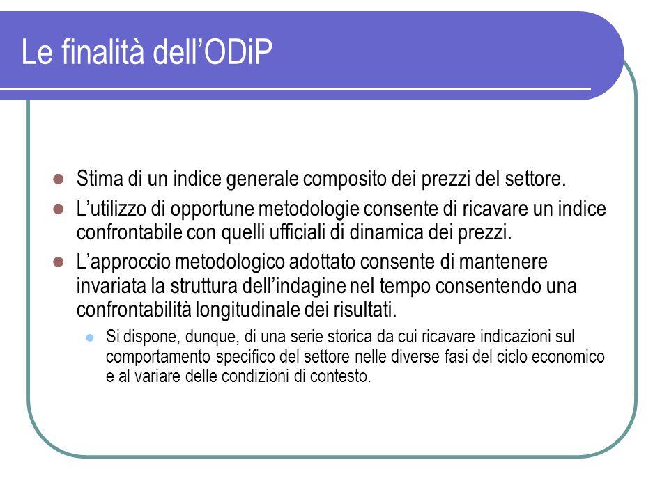 Le finalità dellODiP Stima di un indice generale composito dei prezzi del settore. Lutilizzo di opportune metodologie consente di ricavare un indice c