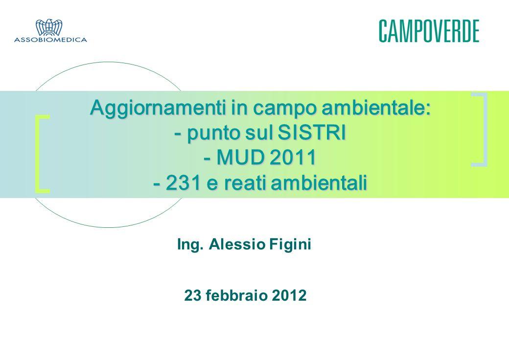 Aggiornamenti in campo ambientale: - punto sul SISTRI - MUD 2011 - 231 e reati ambientali Ing. Alessio Figini 23 febbraio 2012