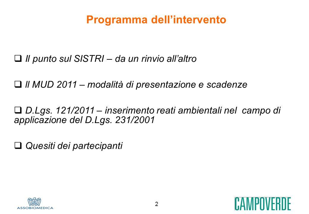 2 Programma dellintervento Il punto sul SISTRI – da un rinvio allaltro ll MUD 2011 – modalità di presentazione e scadenze D.Lgs. 121/2011 – inseriment
