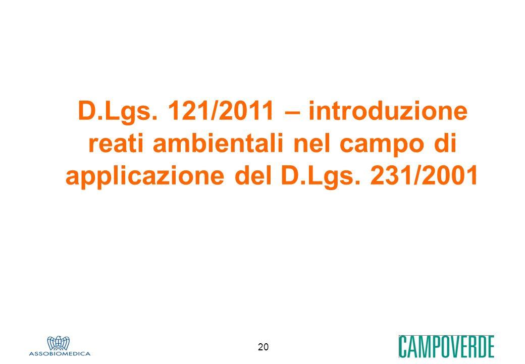 20 D.Lgs. 121/2011 – introduzione reati ambientali nel campo di applicazione del D.Lgs. 231/2001