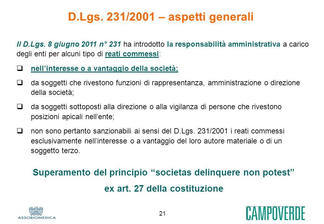 21 Superamento del principio societas delinquere non potest ex art. 27 della costituzione D.Lgs. 231/2001 – aspetti generali Il D.Lgs. 8 giugno 2011 n