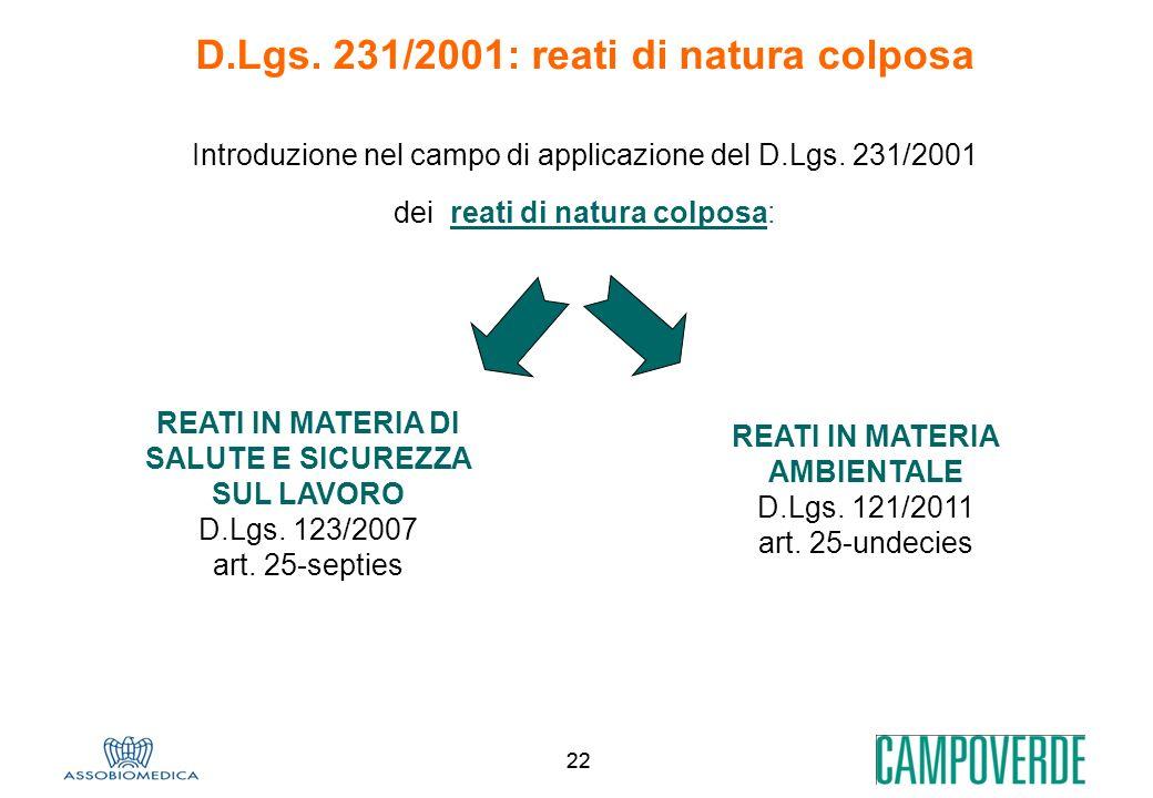 22 D.Lgs. 231/2001: reati di natura colposa Introduzione nel campo di applicazione del D.Lgs. 231/2001 dei reati di natura colposa: REATI IN MATERIA A