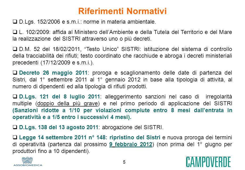 5 Riferimenti Normativi D.Lgs. 152/2006 e s.m.i.: norme in materia ambientale. L. 102/2009: affida al Ministero dellAmbiente e della Tutela del Territ