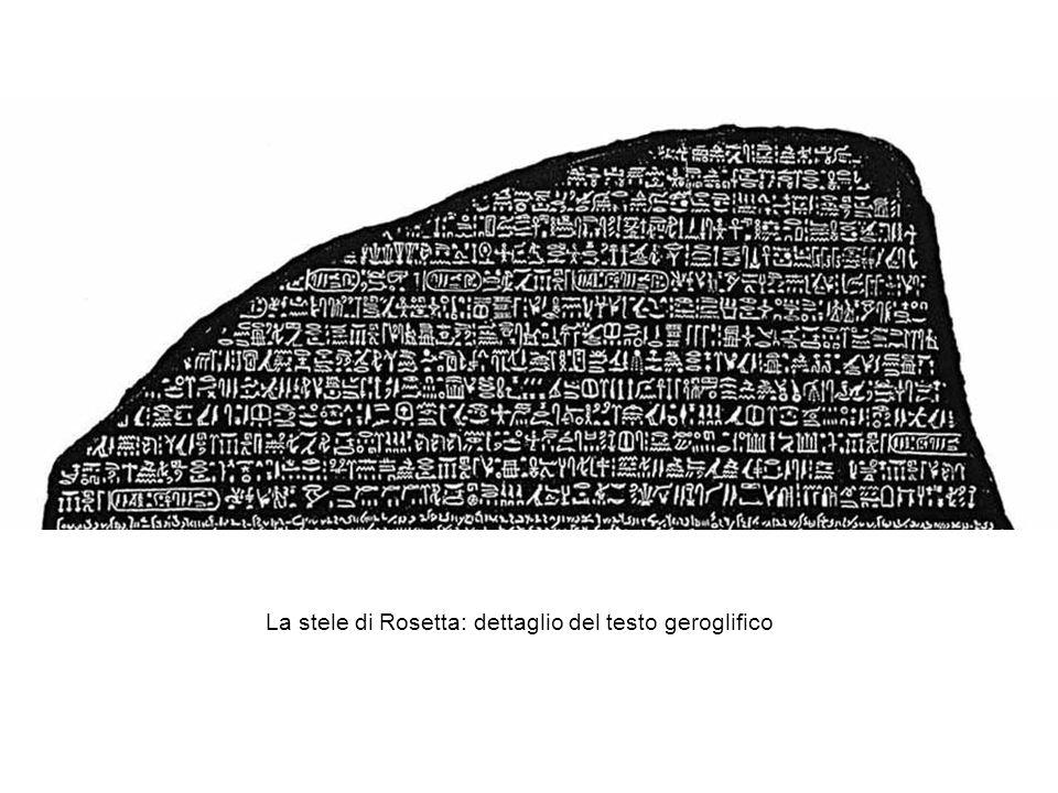 La stele di Rosetta: dettaglio del testo geroglifico