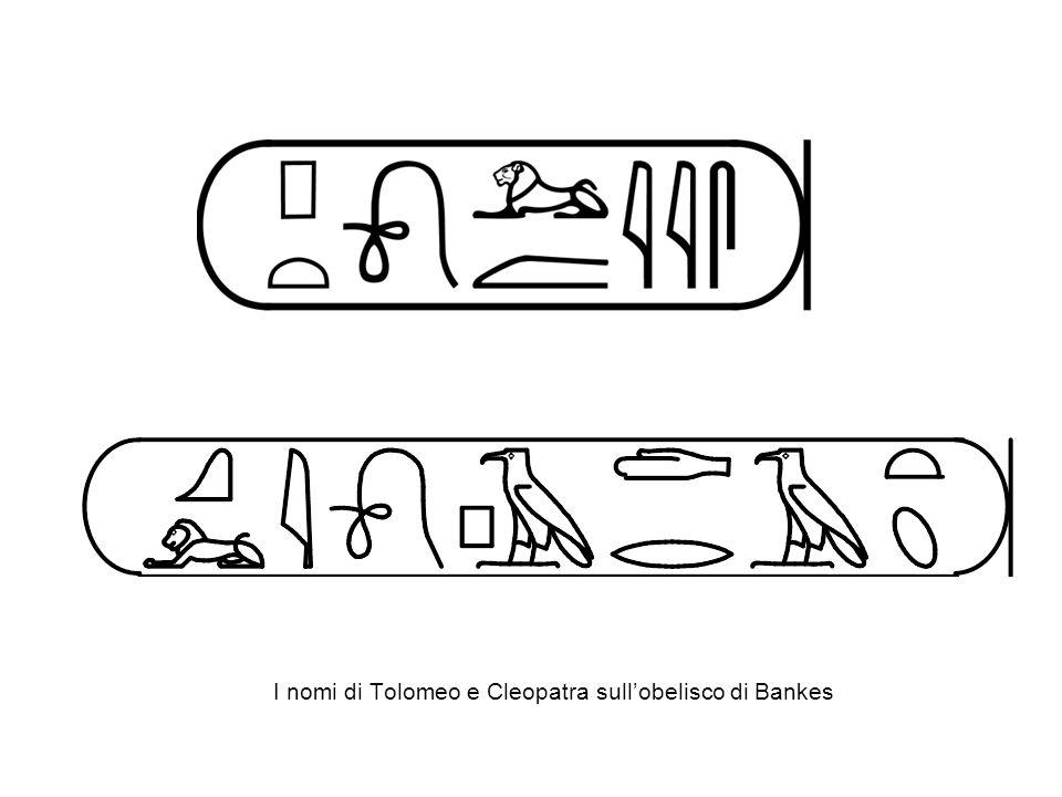 I nomi di Tolomeo e Cleopatra sullobelisco di Bankes