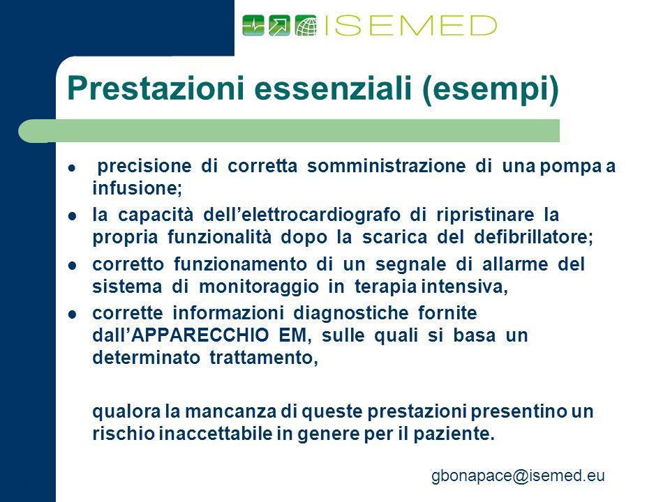 gbonapace@isemed.eu Prestazioni essenziali (esempi) precisione di corretta somministrazione di una pompa a infusione; la capacità dellelettrocardiogra