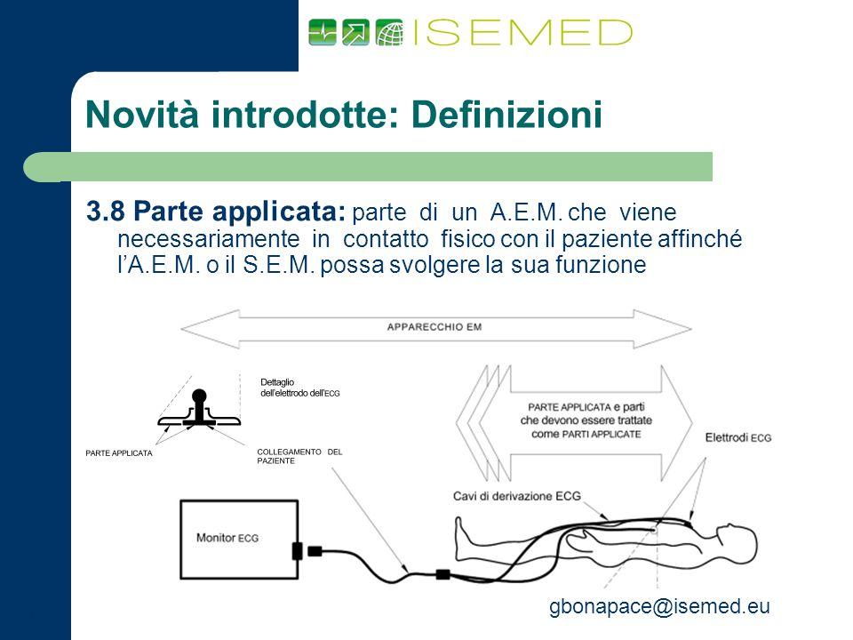 gbonapace@isemed.eu Novità introdotte: Definizioni 3.8 Parte applicata: parte di un A.E.M. che viene necessariamente in contatto fisico con il pazient