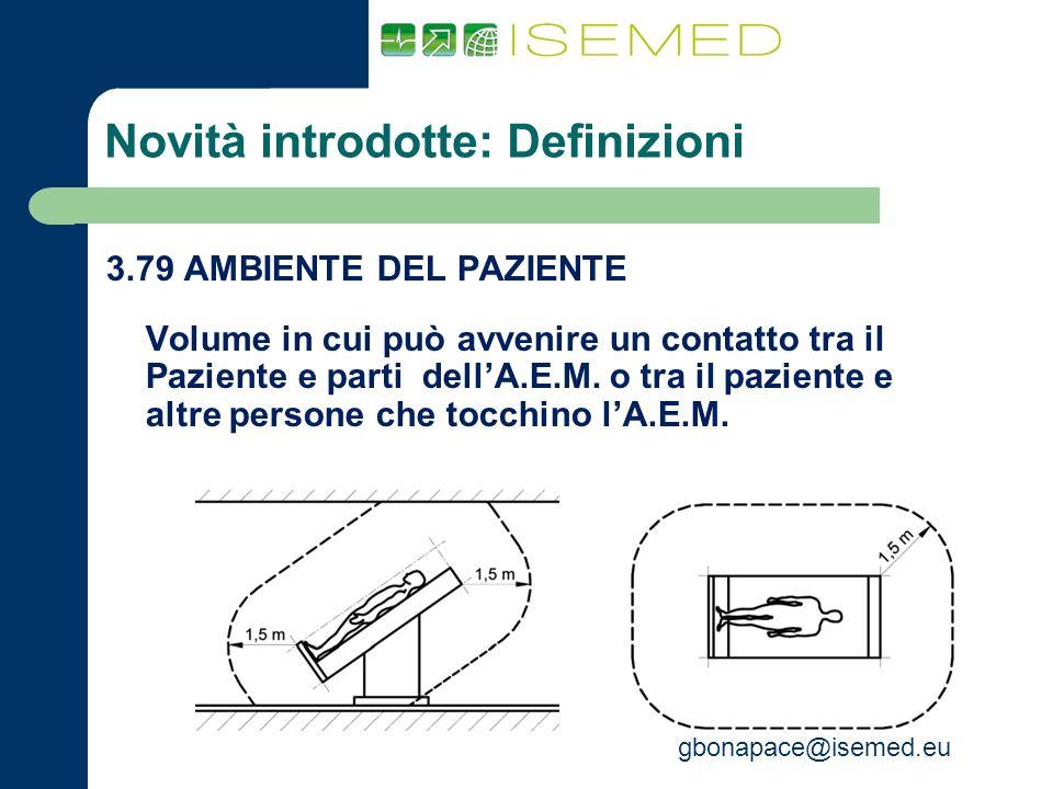 gbonapace@isemed.eu Novità introdotte: Definizioni 3.79 AMBIENTE DEL PAZIENTE Volume in cui può avvenire un contatto tra il Paziente e parti dellA.E.M