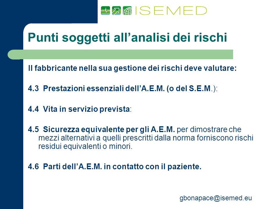 gbonapace@isemed.eu Punti soggetti allanalisi dei rischi Il fabbricante nella sua gestione dei rischi deve valutare: 4.3 Prestazioni essenziali dellA.
