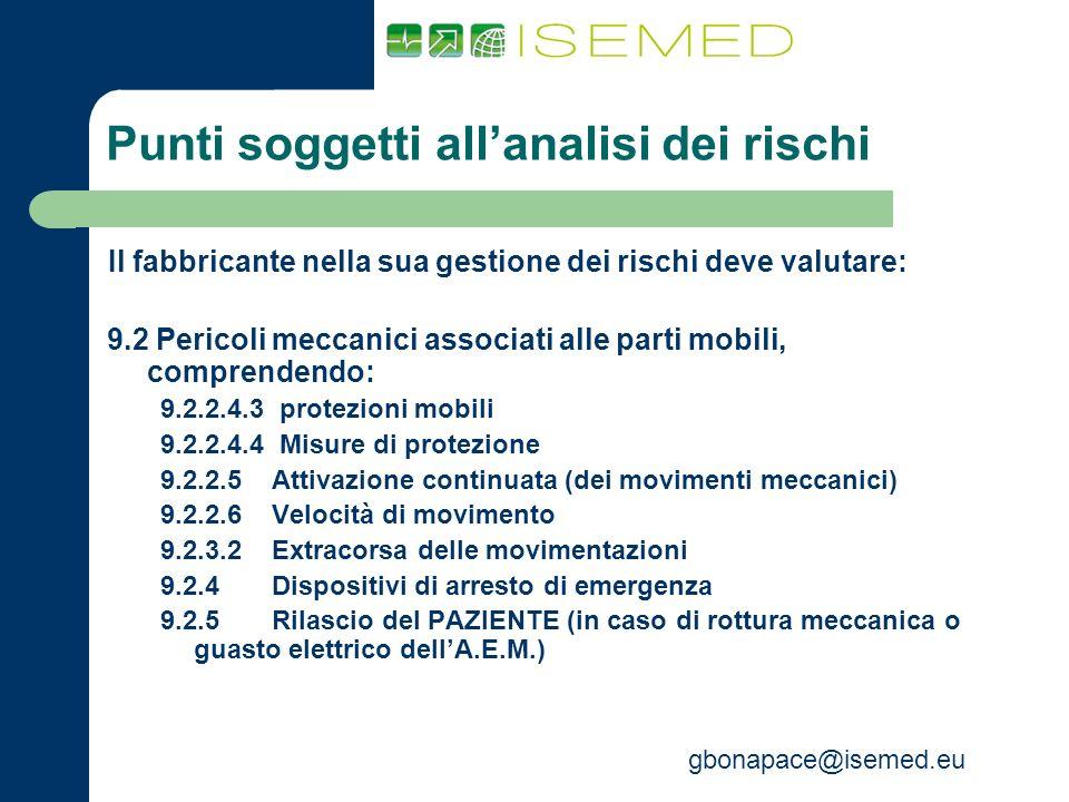 gbonapace@isemed.eu Punti soggetti allanalisi dei rischi Il fabbricante nella sua gestione dei rischi deve valutare: 9.2 Pericoli meccanici associati