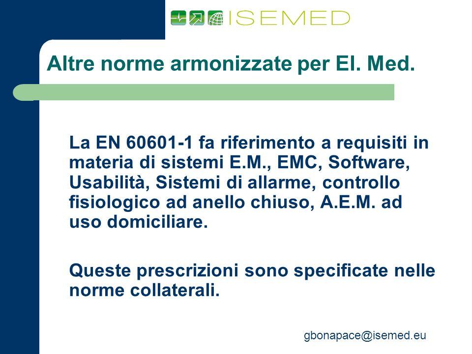 gbonapace@isemed.eu Altre norme armonizzate per El. Med. La EN 60601-1 fa riferimento a requisiti in materia di sistemi E.M., EMC, Software, Usabilità