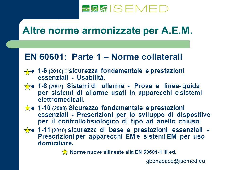 gbonapace@isemed.eu Altre norme armonizzate per A.E.M. EN 60601: Parte 1 – Norme collaterali 1-6 (2010) : sicurezza fondamentale e prestazioni essenzi