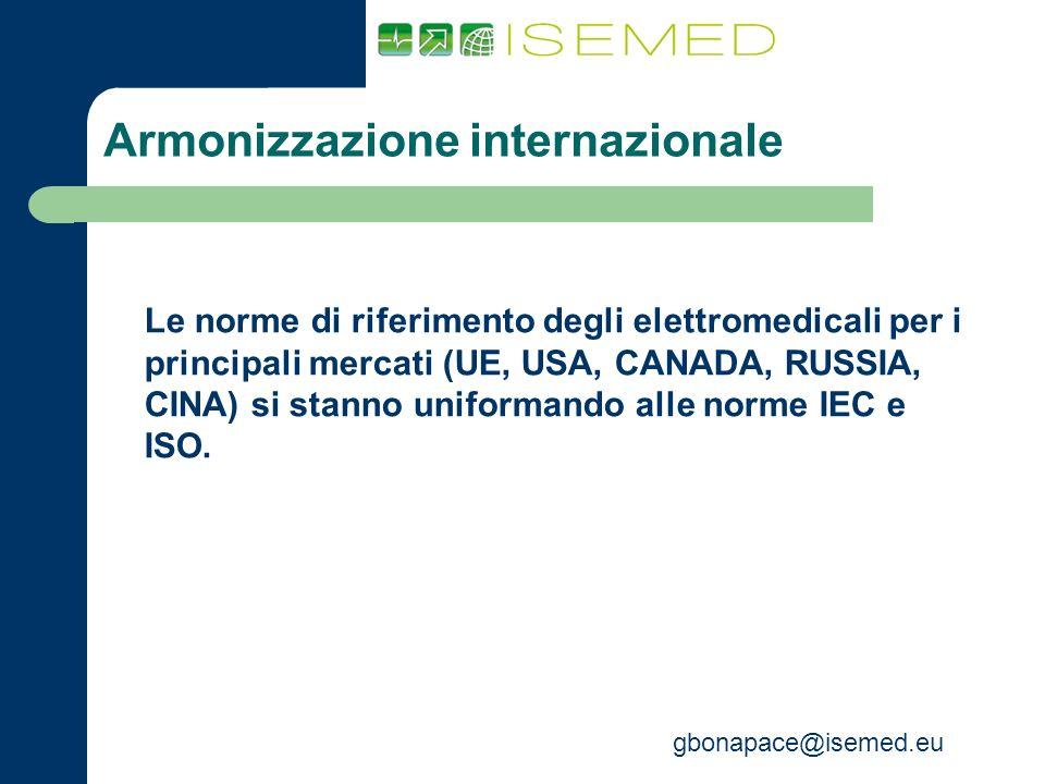 gbonapace@isemed.eu Armonizzazione internazionale Le norme di riferimento degli elettromedicali per i principali mercati (UE, USA, CANADA, RUSSIA, CIN