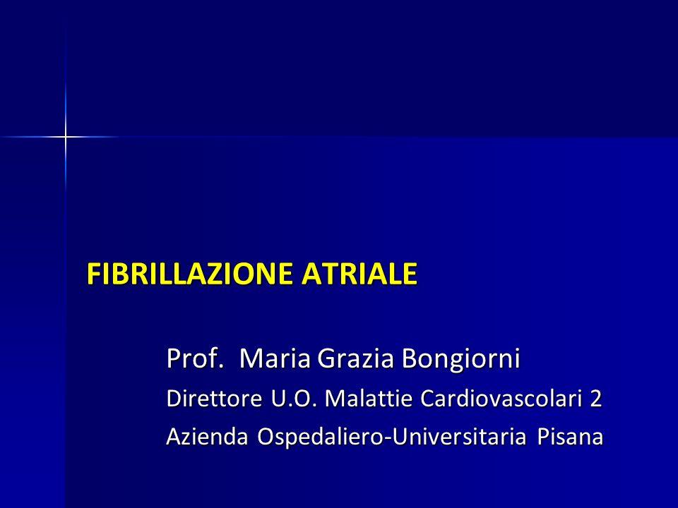 FIBRILLAZIONE ATRIALE Prof. Maria Grazia Bongiorni Direttore U.O. Malattie Cardiovascolari 2 Azienda Ospedaliero-Universitaria Pisana