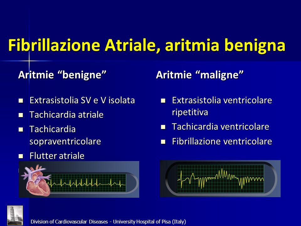 Division of Cardiovascular Diseases - University Hospital of Pisa (Italy) Fibrillazione Atriale, aritmia benigna Aritmie benigne Aritmie maligne Extra