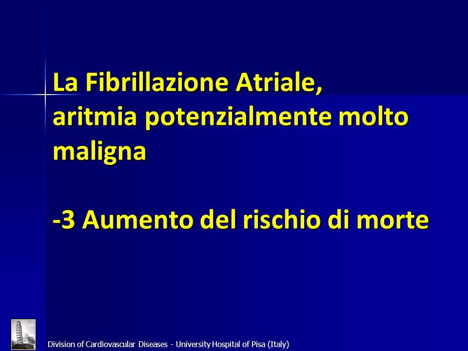 Division of Cardiovascular Diseases - University Hospital of Pisa (Italy) La Fibrillazione Atriale, aritmia potenzialmente molto maligna -3 Aumento de