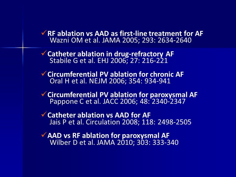 RF ablation vs AAD as first-line treatment for AF Wazni OM et al. JAMA 2005; 293: 2634-2640 Catheter ablation in drug-refractory AF Stabile G et al. E
