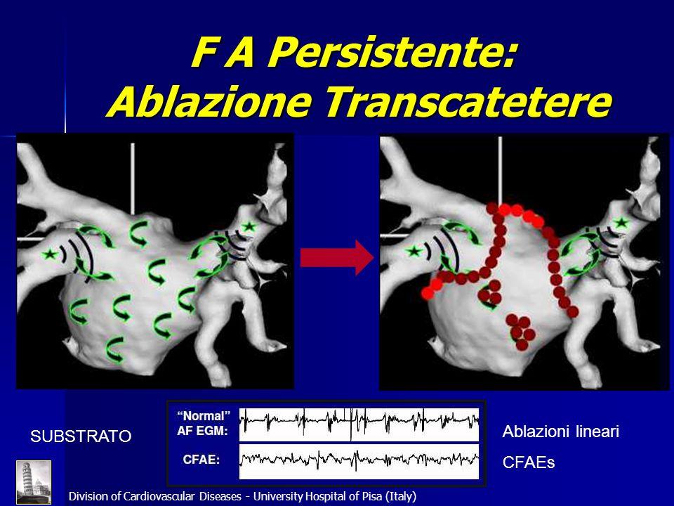 Division of Cardiovascular Diseases - University Hospital of Pisa (Italy) F A Persistente: Ablazione Transcatetere SUBSTRATO Ablazioni lineari CFAEs