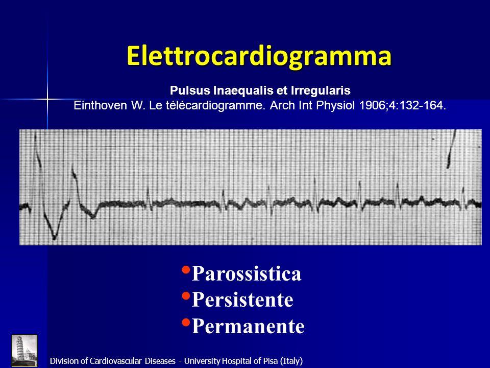 Division of Cardiovascular Diseases - University Hospital of Pisa (Italy) Epidemiologia La fibrillazione atriale (F.A.) è laritmia sostenuta più frequente nella pratica clinica.