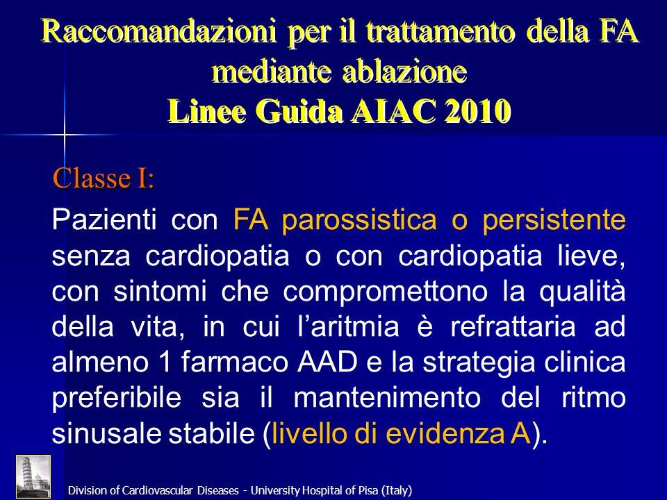 Raccomandazioni per il trattamento della FA mediante ablazione Linee Guida AIAC 2010 Classe I: Pazienti con FA parossistica o persistente senza cardio