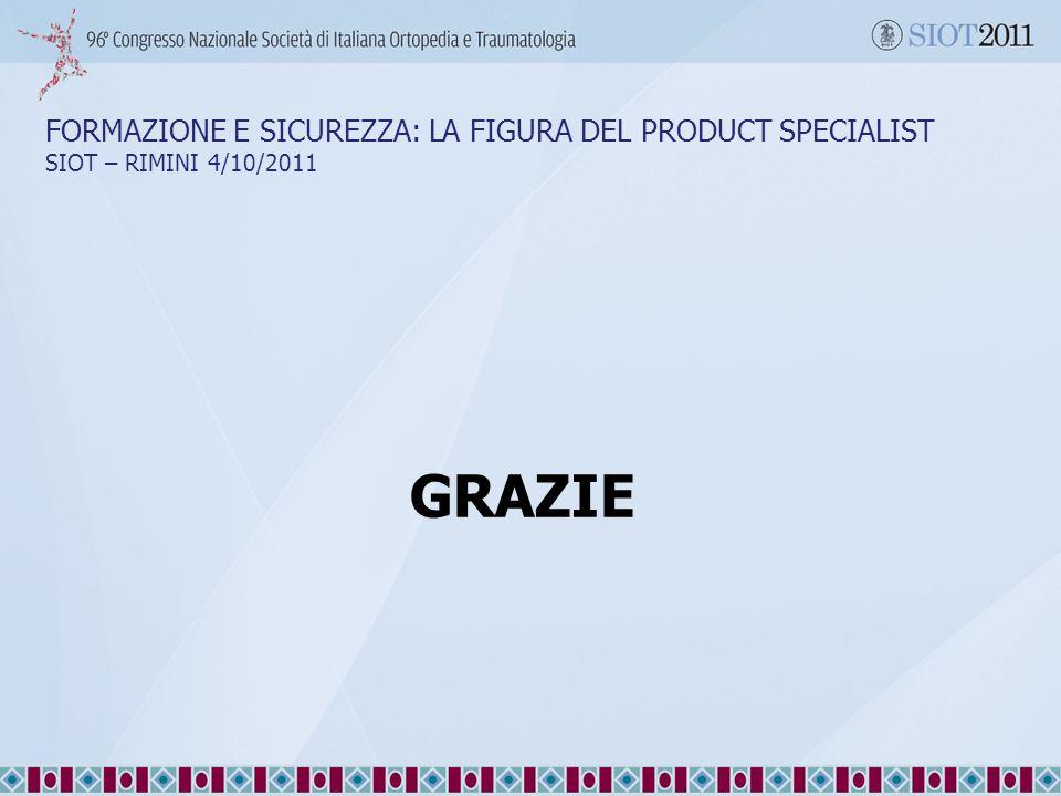 FORMAZIONE E SICUREZZA: LA FIGURA DEL PRODUCT SPECIALIST SIOT – RIMINI 4/10/2011 GRAZIE