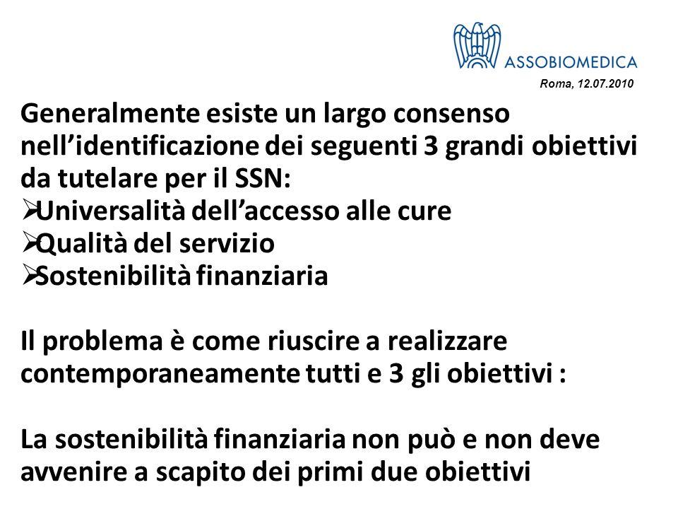 Roma, 12.07.2010 Generalmente esiste un largo consenso nellidentificazione dei seguenti 3 grandi obiettivi da tutelare per il SSN: Universalità dellac