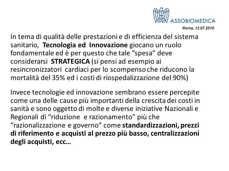 Roma, 12.07.2010 In tema di qualità delle prestazioni e di efficienza del sistema sanitario, Tecnologia ed Innovazione giocano un ruolo fondamentale e
