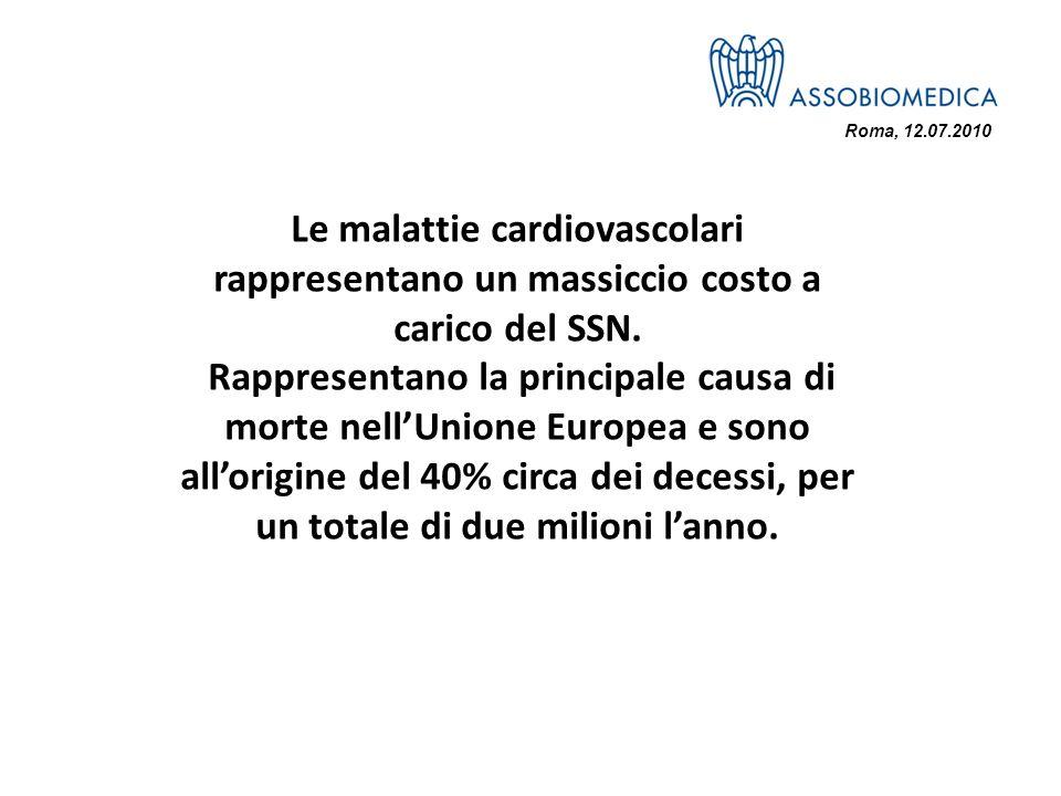 Roma, 12.07.2010 Le malattie cardiovascolari rappresentano un massiccio costo a carico del SSN.