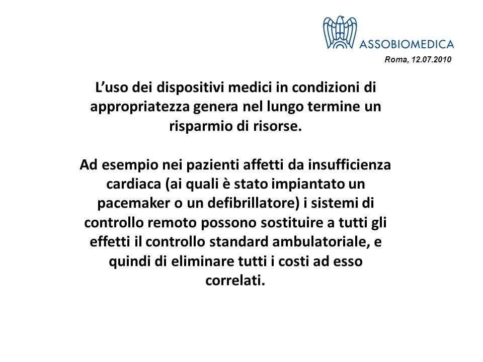 Roma, 12.07.2010 Luso dei dispositivi medici in condizioni di appropriatezza genera nel lungo termine un risparmio di risorse. Ad esempio nei pazienti