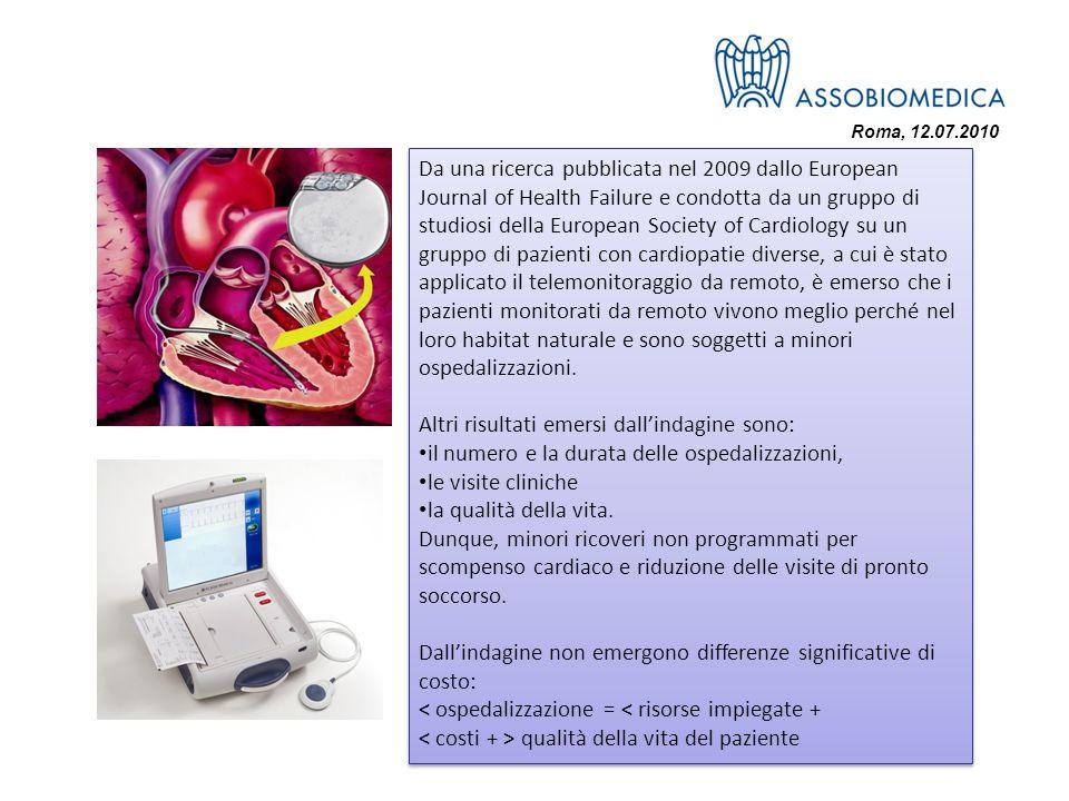 Roma, 12.07.2010 Da una ricerca pubblicata nel 2009 dallo European Journal of Health Failure e condotta da un gruppo di studiosi della European Societ