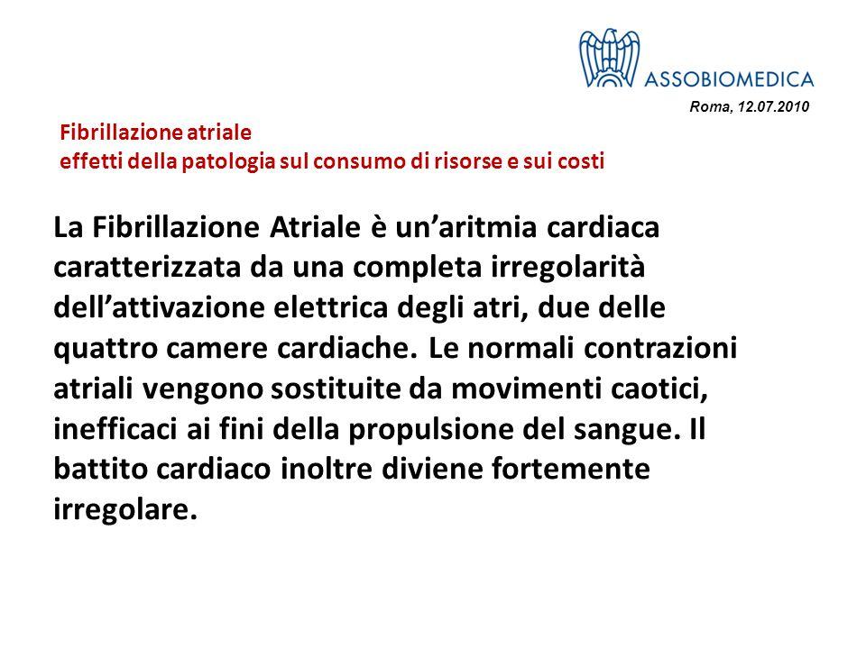 Roma, 12.07.2010 La Fibrillazione Atriale è unaritmia cardiaca caratterizzata da una completa irregolarità dellattivazione elettrica degli atri, due delle quattro camere cardiache.