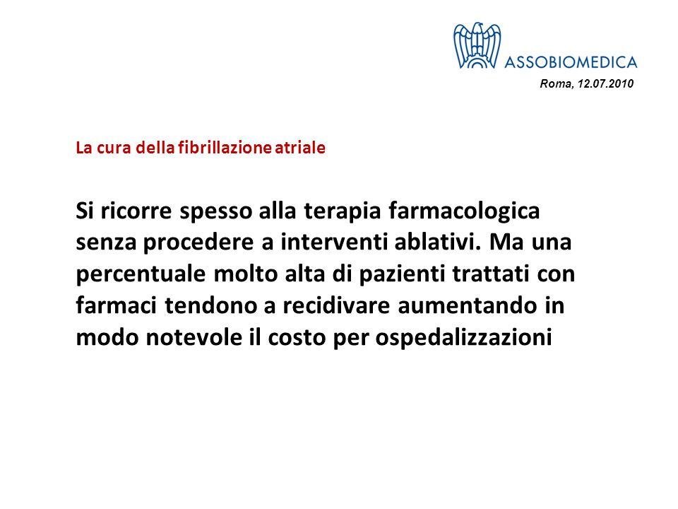 Roma, 12.07.2010 La cura della fibrillazione atriale Si ricorre spesso alla terapia farmacologica senza procedere a interventi ablativi. Ma una percen