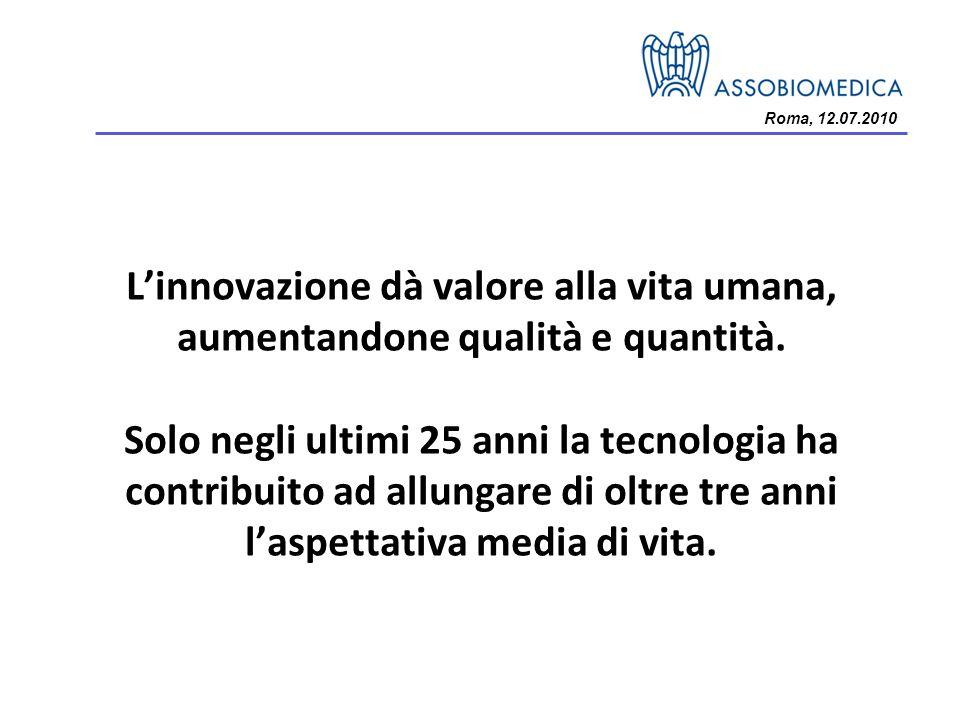 Roma, 12.07.2010 Linnovazione dà valore alla vita umana, aumentandone qualità e quantità. Solo negli ultimi 25 anni la tecnologia ha contribuito ad al