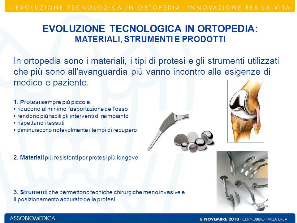In ortopedia sono i materiali, i tipi di protesi e gli strumenti utilizzati che più sono allavanguardia più vanno incontro alle esigenze di medico e p