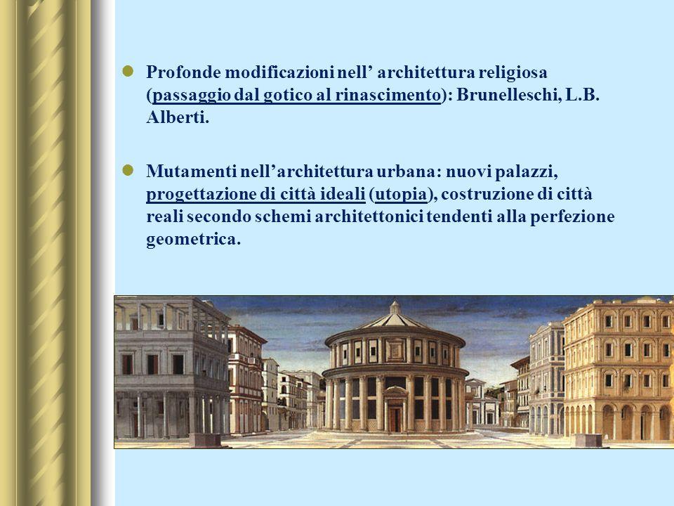 Profonde modificazioni nell architettura religiosa (passaggio dal gotico al rinascimento): Brunelleschi, L.B. Alberti. Mutamenti nellarchitettura urba