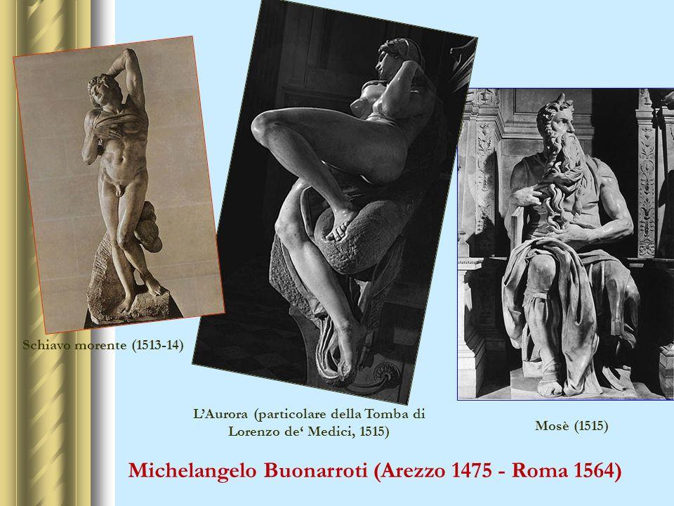 Michelangelo Buonarroti (Arezzo 1475 - Roma 1564) Mosè (1515) LAurora (particolare della Tomba di Lorenzo de Medici, 1515) Schiavo morente (1513-14)