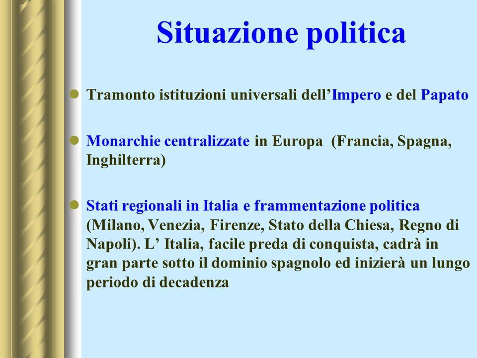 Situazione politica Tramonto istituzioni universali dellImpero e del Papato Monarchie centralizzate in Europa (Francia, Spagna, Inghilterra) Stati reg