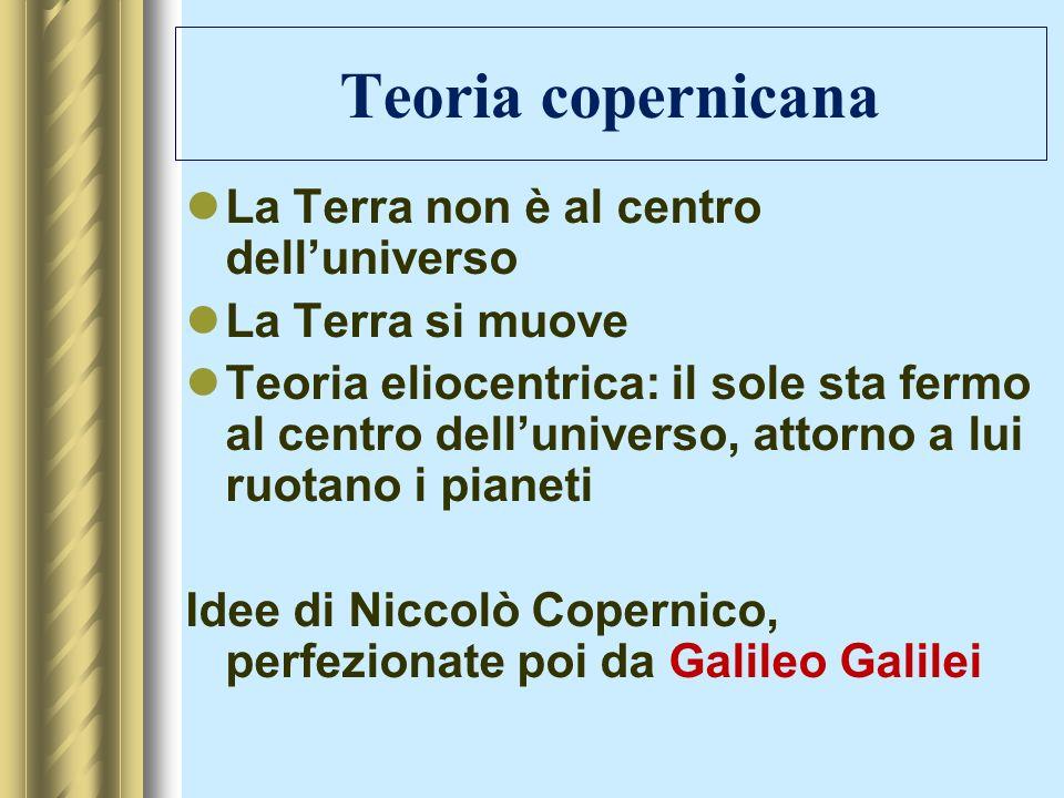 Teoria copernicana La Terra non è al centro delluniverso La Terra si muove Teoria eliocentrica: il sole sta fermo al centro delluniverso, attorno a lu