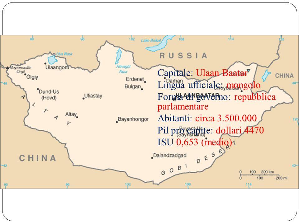 Capitale: Ulaan Baatar Lingua ufficiale: mongolo Forma di governo: repubblica parlamentare Abitanti: circa 3.500.000 Pil pro capite: dollari 4470 ISU 0,653 (medio)