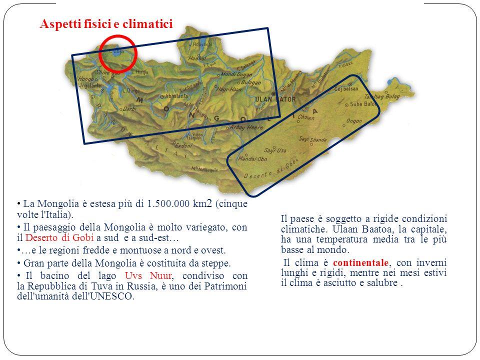 Aspetti fisici e climatici La Mongolia è estesa più di 1.500.000 km 2 (cinque volte l Italia).