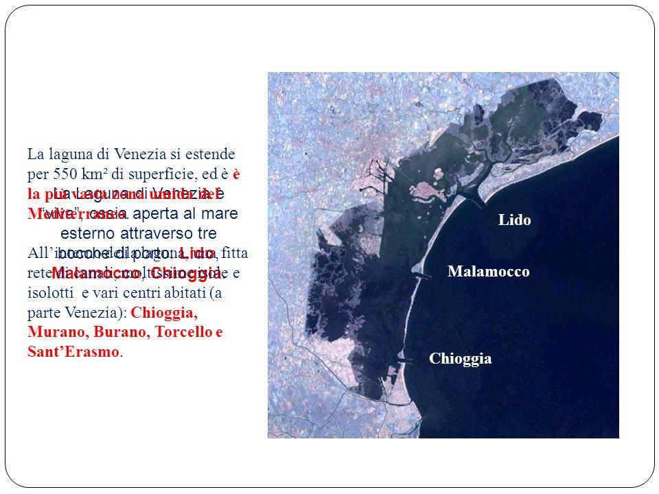 La Laguna di Venezia è viva, ossia aperta al mare esterno attraverso tre bocche di porto: Lido, Malamocco, Chioggia. Lido Malamocco Chioggia La laguna