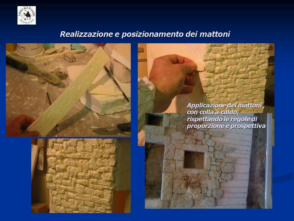 Realizzazione e posizionamento dei mattoni Applicazione dei mattoni, con colla a caldo, rispettando le regole di proporzione e prospettiva