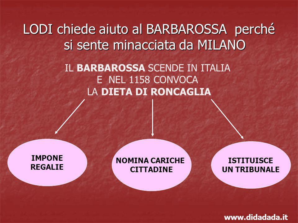 LODI chiede aiuto al BARBAROSSA perché si sente minacciata da MILANO IL BARBAROSSA SCENDE IN ITALIA E NEL 1158 CONVOCA LA DIETA DI RONCAGLIA IMPONE RE