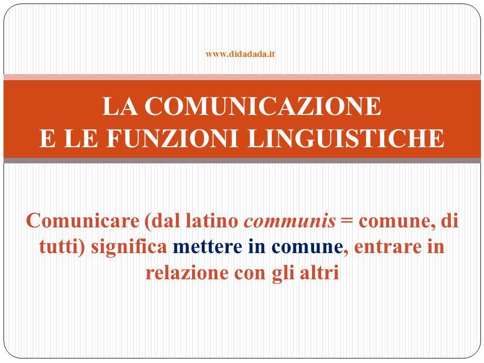 Comunicare (dal latino communis = comune, di tutti) significa mettere in comune, entrare in relazione con gli altri LA COMUNICAZIONE E LE FUNZIONI LIN