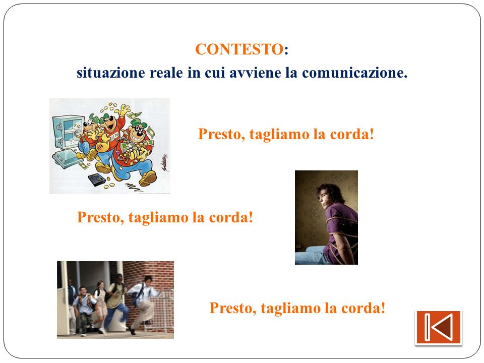CONTESTO: situazione reale in cui avviene la comunicazione. Presto, tagliamo la corda!