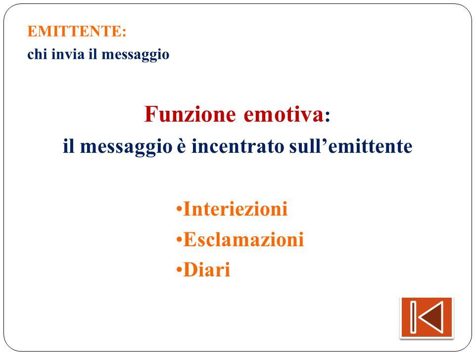 EMITTENTE: chi invia il messaggio Funzione emotiva : il messaggio è incentrato sullemittente Interiezioni Esclamazioni Diari