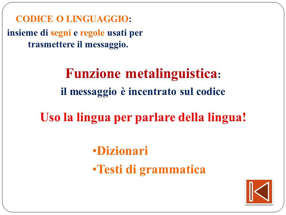 CODICE O LINGUAGGIO: insieme di segni e regole usati per trasmettere il messaggio. Funzione metalinguistica : il messaggio è incentrato sul codice Uso