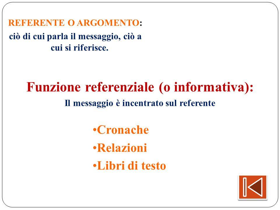 REFERENTE O ARGOMENTO: ciò di cui parla il messaggio, ciò a cui si riferisce. Funzione referenziale (o informativa): Il messaggio è incentrato sul ref